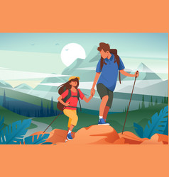 Flat young woman and man couple hiking in vector