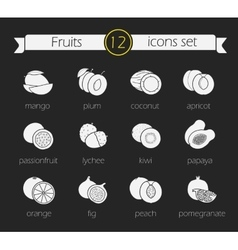 Fruits silhouette icons set Chalk vector