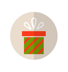 Gift box surprise for holiday flat color icon vector