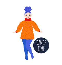 Girl in warm dress dancing and smiling pastime vector
