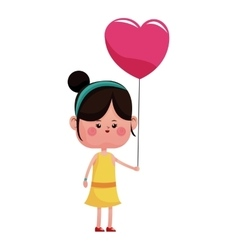 Girl pink heart balloon happy vector