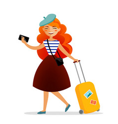 girl traveler with a suitcase bag and phone with vector image