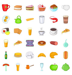 good cafe icons set cartoon style vector image