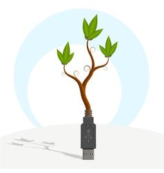 Green usb plant vector