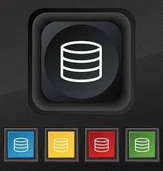 Hard disk and database icon symbol Set of five vector image