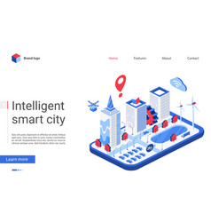 isometric smart city website vector image