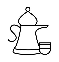 jug and cup clay kitchen line style icon vector image