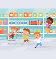 Kids in shopping mother with children purchase vector