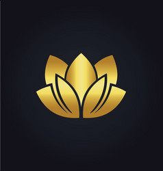 Lotus flower beauty spa gold logo vector