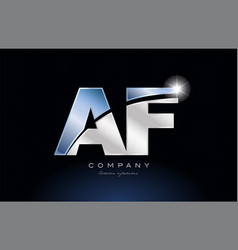 Metal blue alphabet letter af a f logo company vector