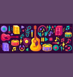 musical instruments flat cliparts set vector image