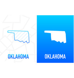 Oklahoma - us state contour line in white vector