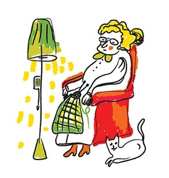 Old lady knitting sketch - cozy room vector image