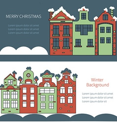 Old town decorated for Christmas vector