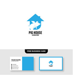 pig logo template free business card mockup vector image