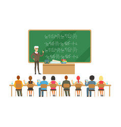 professor near the blackboard with formulas vector image