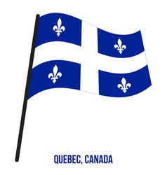 Quebec flag waving on white background provinces vector