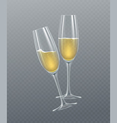 Realistic glasses champagne isolated on a vector