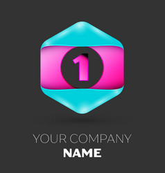 Realistic number one logo in colorful hexagonal vector