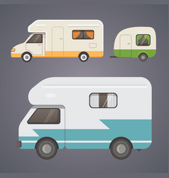 Retro camper trailer collection car trailers vector