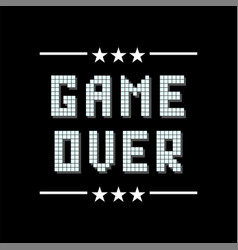 retro pixel game over sign with stars on black vector image