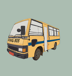School bus in urban city sketch vector