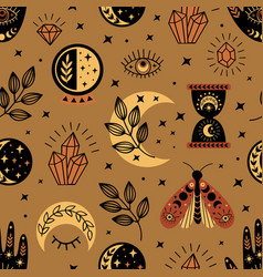 Seamless pattern with magical elements vector