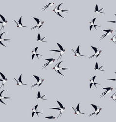 Seamless pattern with swallow birds vector