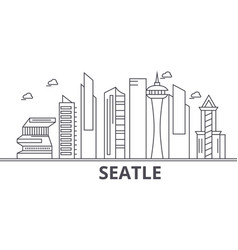 Seattle architecture line skyline vector