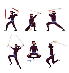 set japanese ninja assassin characters flat vector image