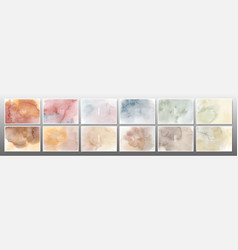 set mixed earth tone watercolor background vector image