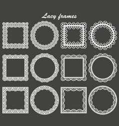 set of lace frames round and square vector image