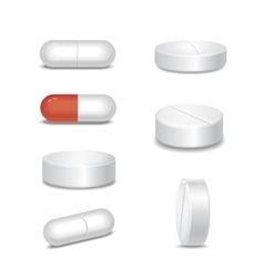 Set of medical pills in different positions vector image