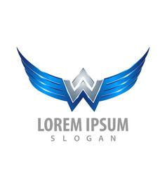 shiny wing letter w concept design symbol graphic vector image