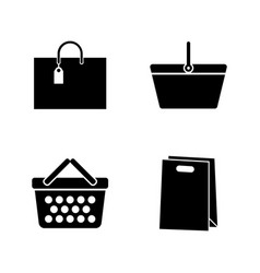Shopping bags package simple related icons vector