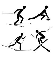 silhouette curling racing alpine freestyle vector image