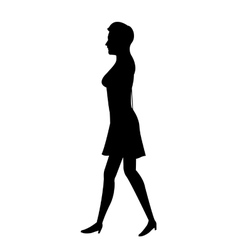silhouette woman with dress walking vector image