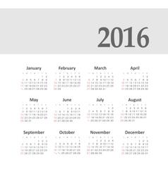 Simple 2016 year calendar vector image