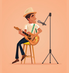 Singer man character sing song and play guitar vector