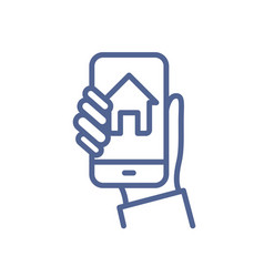 smart home control app on phone screen in hand vector image