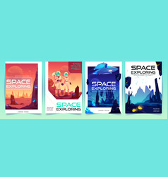space exploring banners set with alien landscape vector image