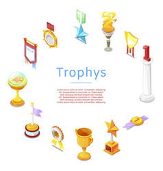 sport trophy prizes statuettes and golden cups vector image