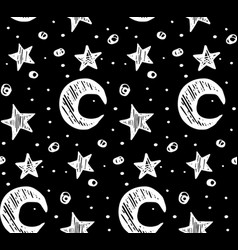 star night seamless pattern black white vector image