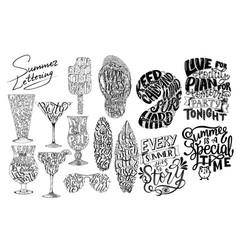 Summer lettering set brush lettering composition vector