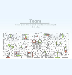 thin line art team poster banner template vector image
