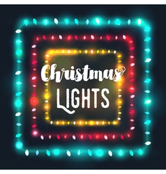 Three square Christmas light borders vector