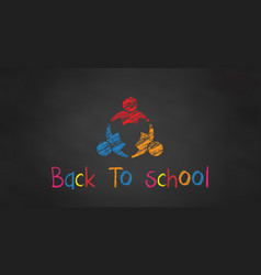 three students in chalk black board back to vector image