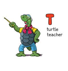 Turtle teacher animals profession abc alphabet t vector