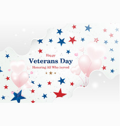 veterans day greeting card with font inscription vector image