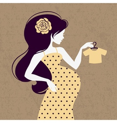 Vintage silhouette of pregnant woman vector image
